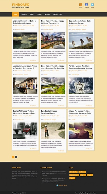 Free Responsive Pinterest-Styled WordPress Theme - Pinboard