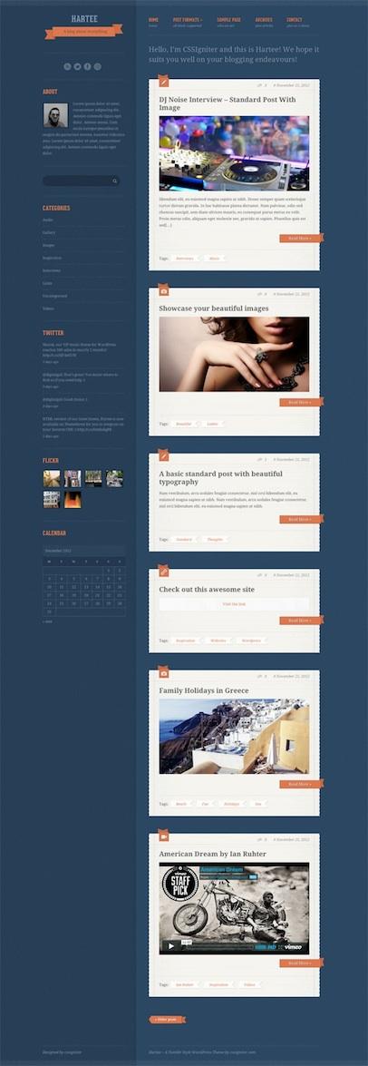 Responsive Tumblr Like WordPress Theme - Hartee