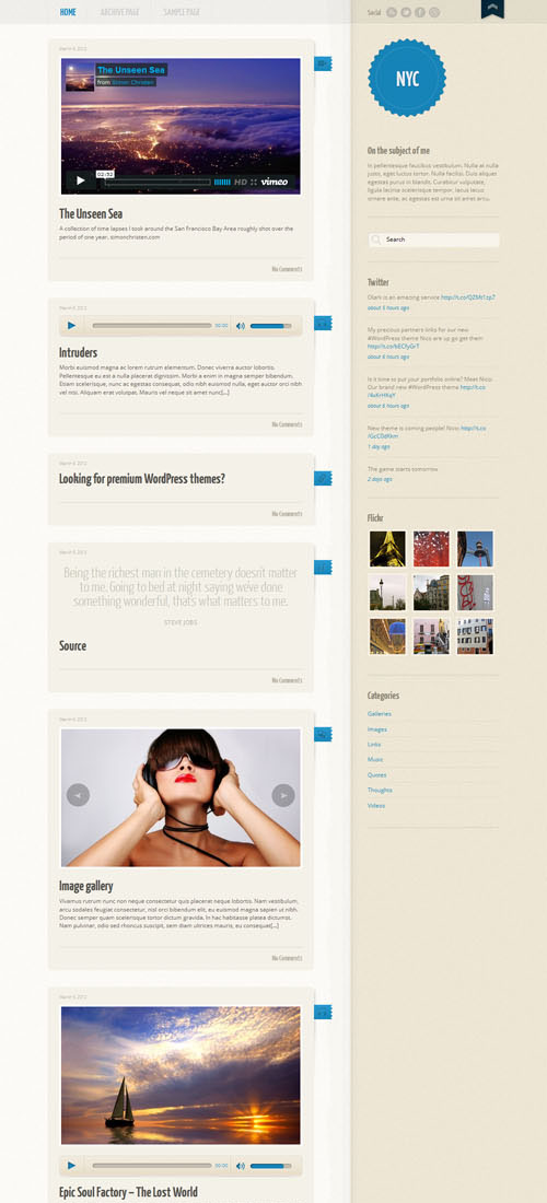 Tumblr-Like WordPress Template - NYC