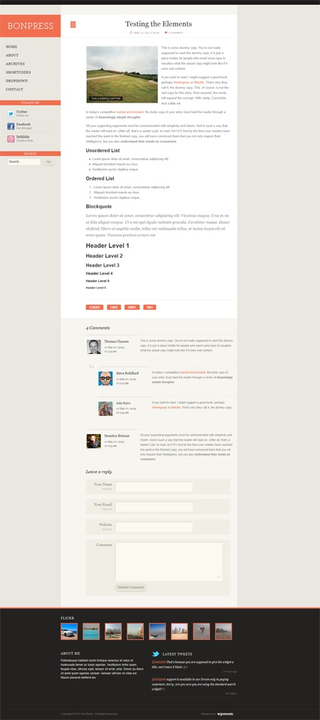 Free Responsive Microblogging WordPress Theme - BonPress