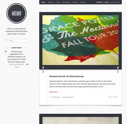 Minimalistic Tumblog Style WordPress Theme - Memo