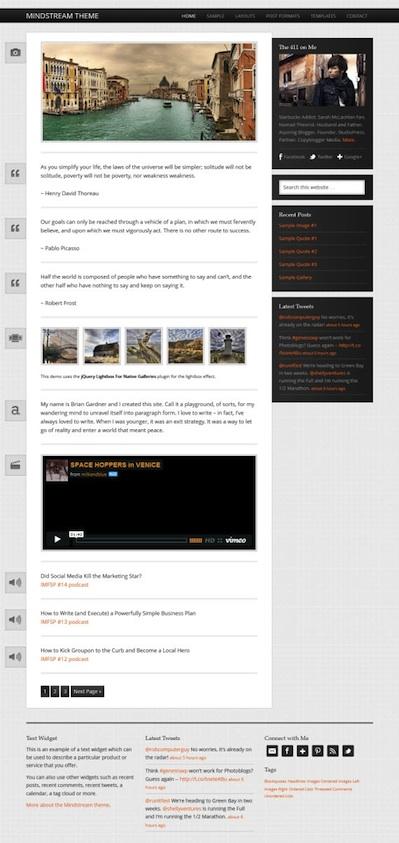 Responsive Microblogging Theme - Mindstream