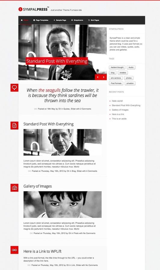 Responsive Microblogging WordPress Theme - SympalPress