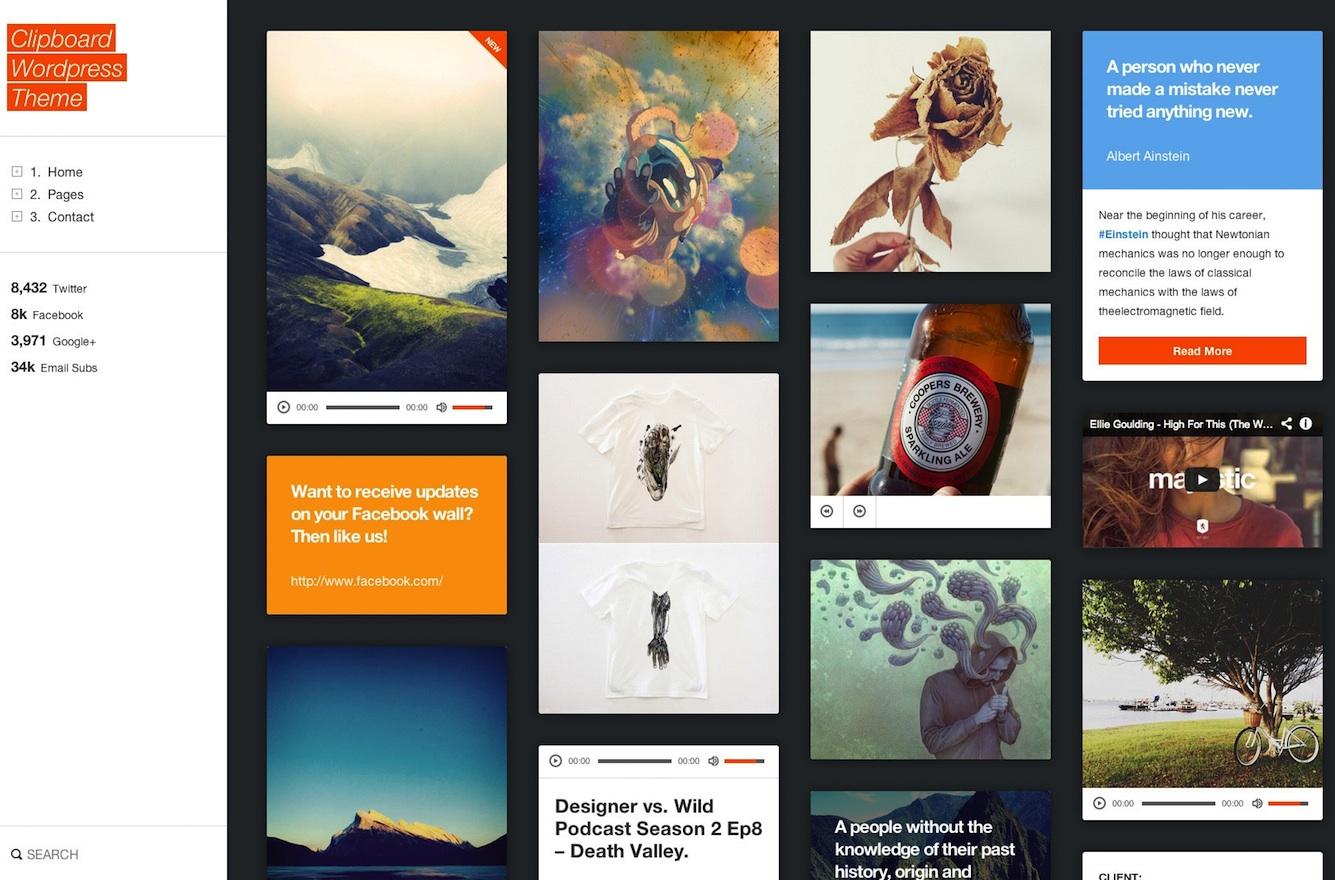 Responsive Tumblog Style WordPress Theme - Clipboard