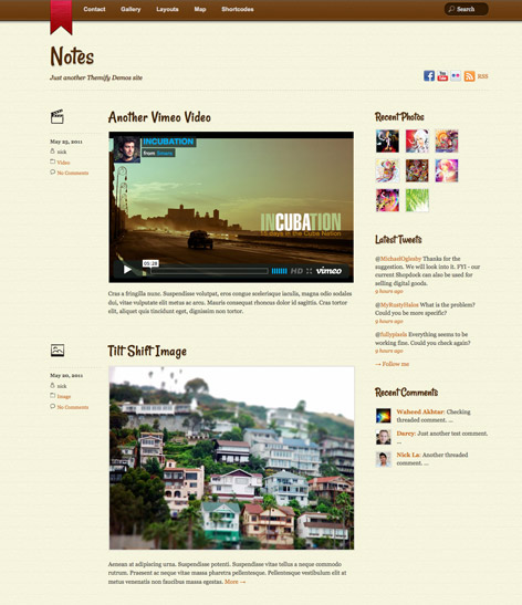 Responsive Tumblr Blog WordPress Theme - Notes