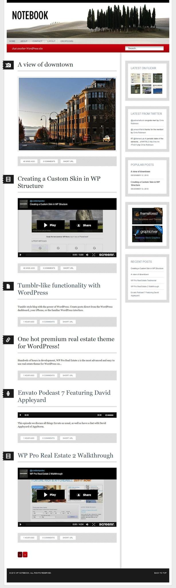 Tumblog WordPress Theme - Notebook