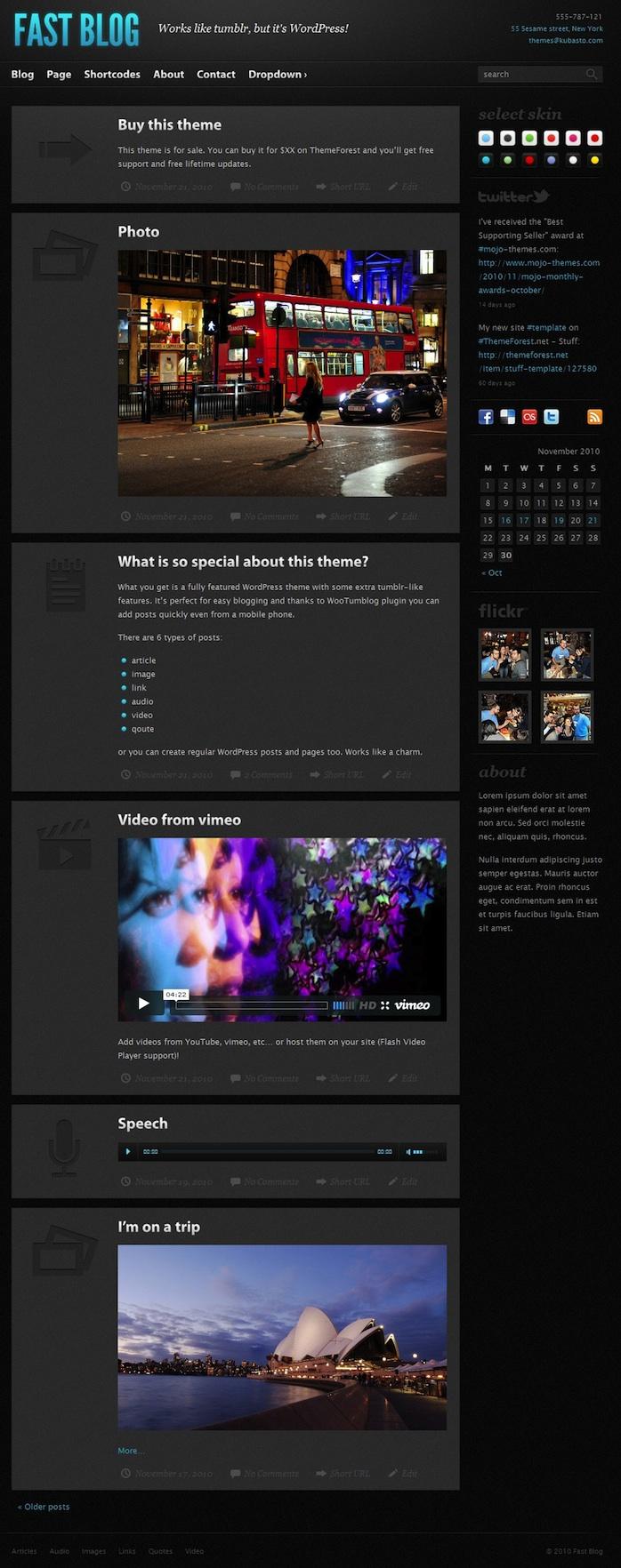 Tumblr-like WordPress Theme - Fast Blog